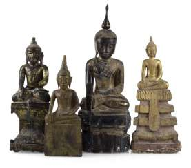 FOUR WOODEN FIGURES OF BUDDHA,
