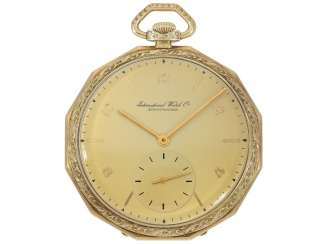 Pocket watch: interesting 14K Gold Lepine of the brand IWC, a rare form of the housing, from the year 1934