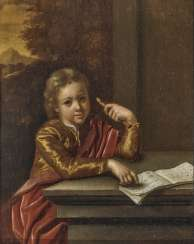 Portrait of a boy with a recorder and music book