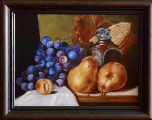 """Still life with pear and grapes"""