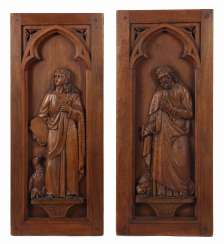 Carver of the 19th century./20. Century, two depictions of saints:
