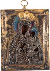 SMALL ICON OF MOTHER OF GOD OF CHERNIGOV WITH FILIGREE VERMEIL-OKLAD