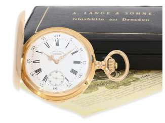 Pocket watch: early and severe red-gold A. Lange & Söhne Glashütte Savonnette with quarter-hour repeater, former noble possession, master excerpt from the book, Glashütte 1887