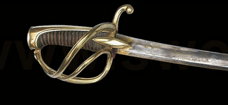 Sabre of an officer of the Royal horse artillery in the sheath.