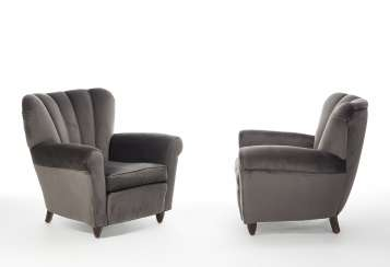 Pair of upholstered bergère with wooden structure and gray velvet covering