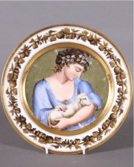 Plate Europe, the beginning of the XIX century, porcelain