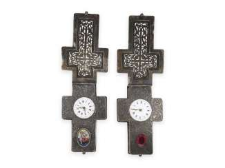 Halsuhr: rare Pair of crucifix necklace watches, probably Vienna, around 1870