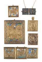 SIGNED TRIPTYCH, DIPTYCH AND FOUR BRONZE ICONS WITH THE OLD TESTAMENT TRINITY