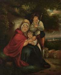 England - mother with two children, 1st half of the 19th century