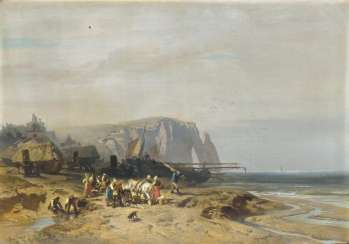Fishermen in front of the cliffs of Étretat