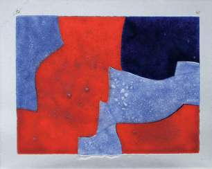 Glass tableau 'Composition in blue, red and black'