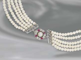 Necklace/Collier: more antique hand-row, extremely rare necklace chain Buckle set with precious Orient pearl, and high-quality ruby/diamond,