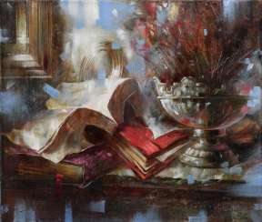 Still life with red book