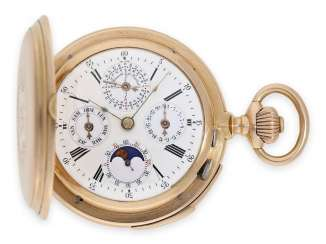 Pocket watch: highly complicated astronomical gold savonnette with perpetual calendar, moon phase and age of the moon, minute repeater, Droz-Jeannot Fils No. 26585, CA. 1890