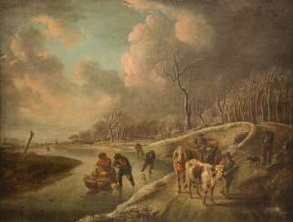 WINTER LANDSCAPE WITH SKATERS, FARMERS WITH CATTLE AND HORSE-CARRIAGE