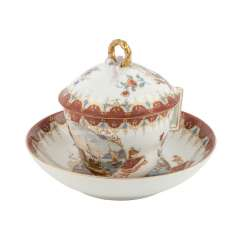 MEISSEN rare lid, Cup with saucer, 19th century. Century