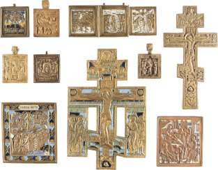 SIGNED TRIPTYCH, TWO CRUCIFIXES, AND SEVEN BRONZE ICONS WITH THE IMPORTANT HIGH STRENGTH OF THE ORTHODOX CHURCH, THE OLD TESTAMENT TRINITY AND THE MANDYLION