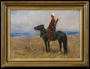 Circassian horseman in the Steppe