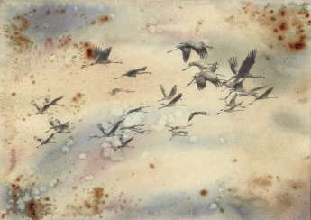 Oh, wild geese were flying. Drawing, handmade, 2020 Author - Mishareva Natalia