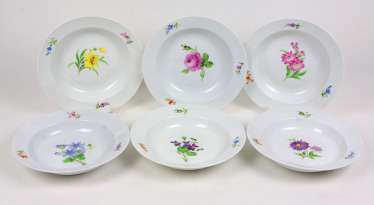 Meissen Set Of Soup Plates *Flower 1*