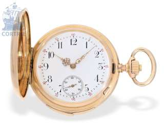 Pocket watch: exquisite, red-gold Le Coultre watch with quarter-hour repeater, top quality, Switzerland, around 1900