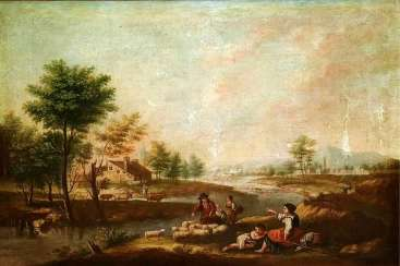 ITALY - LANDSCAPE WITH PEASANTS. FROM XVIII-XIX CENTURIES -  OIL ON CANVAS