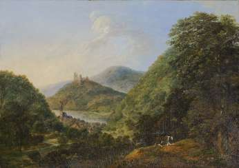 English. Moselle countryside, with views of the ruins of Landshut