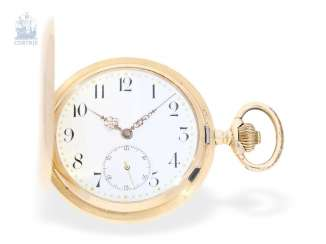 Pocket watch: System Glashütte gold savonnette of a particularly heavy and high-quality execution, around 1900