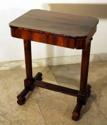 A Vienna Biedermeier working table on two column feet, with lower H-connection, on four rolls