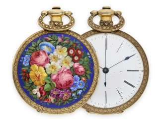 Pocket watch: big enamel pocket watch for the Chinese market, high-fine magnifying glass painting, Fleurier 1850