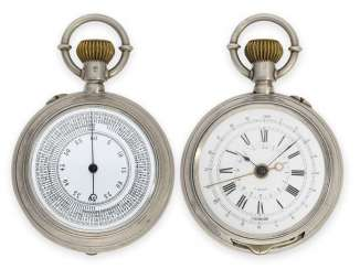 Pocket watch: rarity, double-sided silver military Chronograph, to determine the distance from garnet screw-France subject, probably around 1915