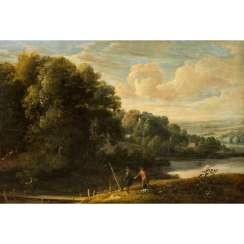 "ARTHOIS, Jacques de, ATTRIBUTED (1613-1686, painter in Brussels), ""Wanderer in a river landscape"","