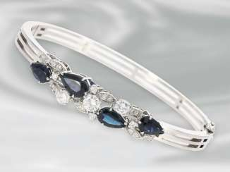 Bracelet/bracelet: very beautiful vintage white gold bangle with sapphires and diamonds, approx 1ct, 14K Gold