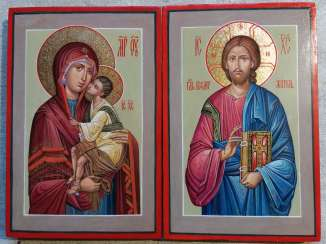 Wedding pair of icons of the virgin and Jesus Christ.