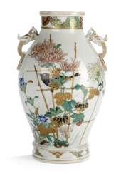 VASE WITH BIRD AND CHRYSANTHE-