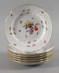 Meissen six dinner plates with insects painting