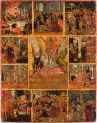 EMMANUEL Lombardo's 1587 Crete - 1631 (radius) Emmanuel Lombardo's VERY RARE, LARGE AND FINE ICON of THE RESURRECTION of CHRIST, WITH SCENES of THE PASSION