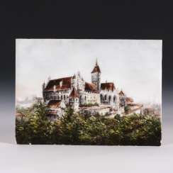 Frosted glass plate with the view of the Marienburg