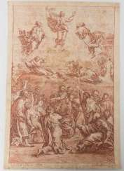 BERNHARD NEHER, d. OLDER, TRANSFIGURATION, red chalk on paper, signed and dated 1765.