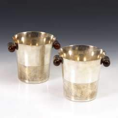 Pair of silver plated bottle cooler, Art Deco