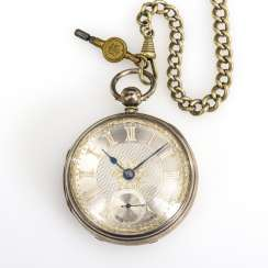Silver English pocket watch with watch chain
