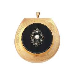 Large brooch/pendant with onyx plate,