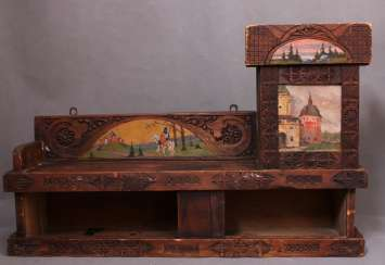 Antique wooden shelf Cabinet with carved and painted, Abramtsevo, C. 19th century