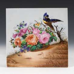 Porcelain painting: flower basket with bird.