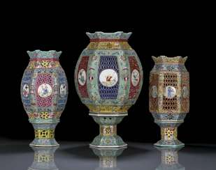 Set of three lanterns made of porcelain with multicoloured decoration, in two Parts worked