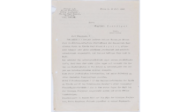 Letter handwritten in German to support the fight against...
