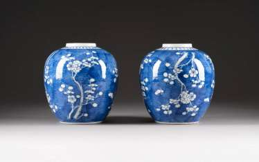 PAIR OF GINGER POTS WITH CHERRY BLOSSOM DECOR