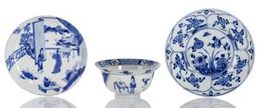 Two plates and a bowl with Blue-and-White decors