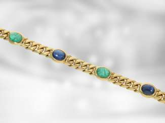 Bracelet: high quality solid chain bracelet, with a fine emerald and sapphire cabochons, total approx. 16,46 ct, 18K yellow gold, the court jeweller Roesner