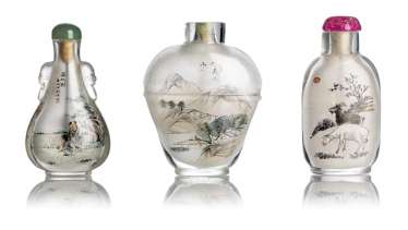 Three Snuffbottles with interior painting